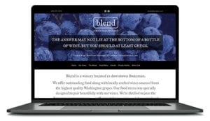 Blend winery website shown on computer