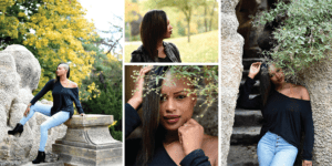 Collage of girl in the park in Prague