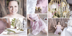 Collage of wedding dress and cake