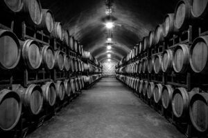 Vancouver Tasting Room with wine barrels